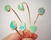 Gold turquoise bangle bracelets with real turquoise cabochons 14k gold plated stackable