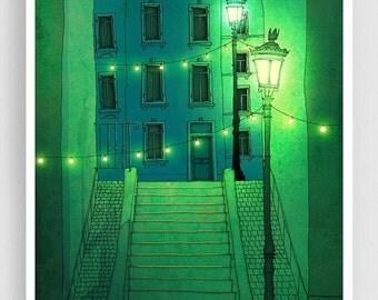 20% OFF SALE: Night walking - Paris illustration Montmartre Art illustration Giclee print Poster Architecture Home decor Wall art City print