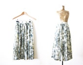womens pleated skirt / high waisted midi skirt / watercolor / spring