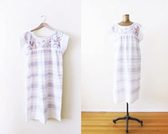 Mexican Embroidered Dress / White Mexican Peasant Dress / Bohemian Clothing