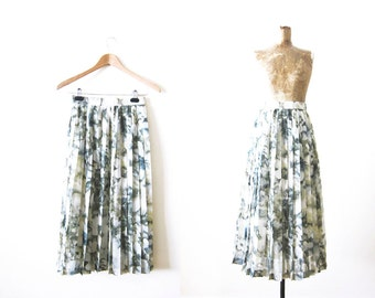 Pleated Skirt / Vintage Skirt Pleated / Spring Easter / Watercolor Abstract Sage Green High Waist Skirt Small