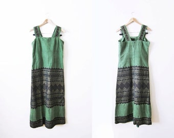Guatemalan Embroidered Dress / 70s Maxi Dress / Bohemian Green Sleeveless Maxi