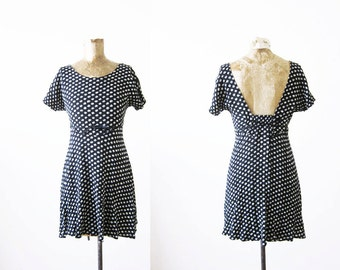 90s mini dress / floral sundress / black and white / grunge dress XS S