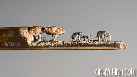 Made to order pencil carving elephant walk incredible