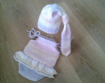 Newborn  Photo Prop ,Baby girl Romper with Ruffles,Mohair Romper