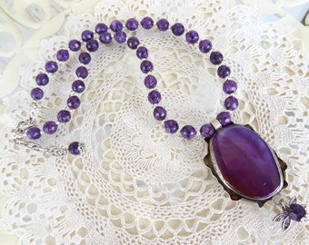 Purple Agate Necklace, Stone Jewelry, Purple Agate Pendants, Stone Necklace, Elegant,Feminine Jewelry,Summer Fashion,OOAK, Mother's Day Gift