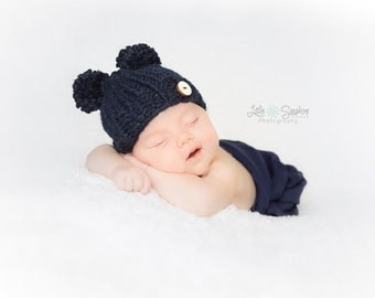 Double Pompom Chunky Knitted Hat, Baby Hat, Double Pom Pom Newborn Hat, Newborn Photo Prop Double Pom Poms, Marine Blue