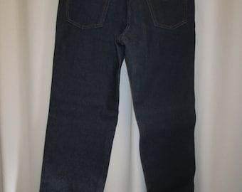vintage, Sears and Roebucks  'ROEBUCKS' new dead stock circa 7os 14 oz dark blue straight leg mens jeans 30 X 33