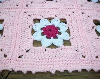 """Baby Girl Blanket/Afghan Crocheted White,  Raspberry,  Baby Pink Yarns 16  """"Flower Design"""" Granny Squares 36 Inches Square READY TO SHIP"""