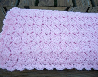 Baby Girl/Child  Blanket/Afghan  Hand Crocheted Pastel Pink Yarn Chic Classic Design 36 Inches Square READY TO SHIP