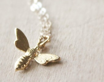 Fall Sale Gold Bee Necklace, Honey Bee Necklace, Vermeil Gold Necklace, Tiny Bee Pendant