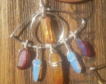 Third Eye Crystal Dream Catcher Necklace in Silver with Tangerine Aura Quartz, Rose Aura Quartz & Opalite
