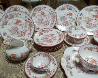 26 Piece Antique French Sarreguemines Dinnerware Set/Circa 1815 /Minton Design/ 252 Pattern/ Chinoiserie Style /Birds/ Dinner Party