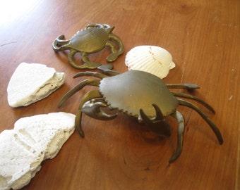 SALE!! Crabs , Brass Crabs , Nautical Decor , Ocean Decor