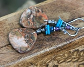 Rustic Jasper  Stone Texture 'Summer Alegories'  earrings n207- specimen rustic bohemian jewelry . long . ooak stone . beach  summer jewelry