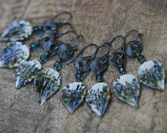 Rustic  Sprinkled Rustic Organic * Leaf * earrings n221 - Romantic  Summer Spring Autumn Leaf . earthy artisan glass leaf . multiples shades