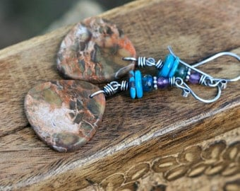 Rustic Jasper  Stone Texture Jasper, Turquoise,Amethyst  earrings n207- rustic bohemian jewelry . long . ooak stone . mixed gemstones . gems