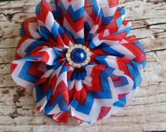 4th of July Clip, Red White and Blue Chevron, Summer Clip, USA Hair, Welcome Home Hair Clip, 4th of July Bow