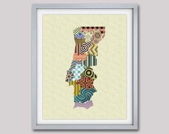 Portugal Map Print, Portugal Poster, Lisbon Art Print, Portuguese Map, Portuguese Gift, Geometric Travel Map Art