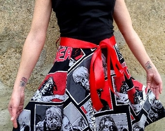 Rockabilly dress The Walking Dead zombie monsters frankenstein hibiscus aloha tiki surf skulls roses psychobilly pin up  leopard