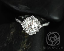 Rori 7mm 14kt White Gold Cushion FB Moissanite and Diamond Kite Halo WITHOUT Milgrain Engagement Ring (Other metals and stones available)