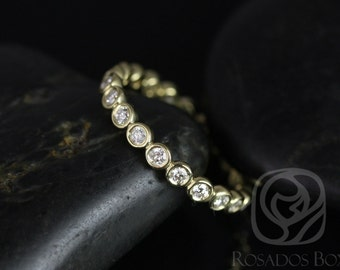 Original Bubbles 2.8mm 14kt Yellow Gold Round Diamond Bezel FULL Eternity Band (Other Metals and Stone Options Available)