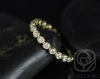 Rosados Box Original Bubbles 2.8mm 14kt Yellow Gold Round Diamond Bezel FULL Eternity Band
