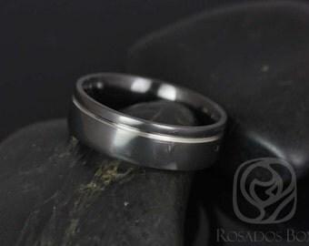 Luke 7mm Black Zirconium Asymmetrical Striped Pipe Band