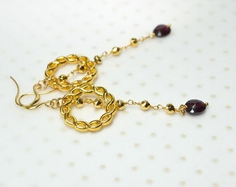 Infinity knot earrings Gold knotted endless circle earrings Rosary chain with garnet drop long dangle earrings Christmas gift ideas for her