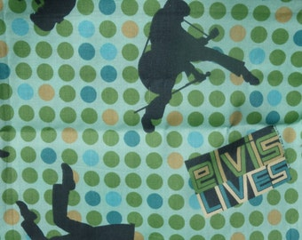 Elvis Lives!  Green Polka Dot Quilting Cotton - about 3/4 Yards
