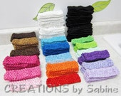 "127 Crochet Headbands, Supplies Large Mixed Lot Multiple Colors Elastic Waffle Bands 1.5"" Wide Wholesale Bulk Newborn Baby Toddler Children"