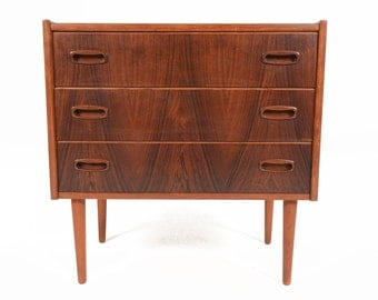 Danish Modern Mid Century Three Drawer Rosewood Entry Chest with Carved Pulls