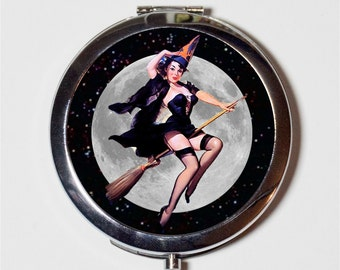 Pin Up Witch Compact Mirror - Pinup Girl on Broom 1950s Retro Witches Moon Halloween - Make Up Pocket Mirror for Cosmetics