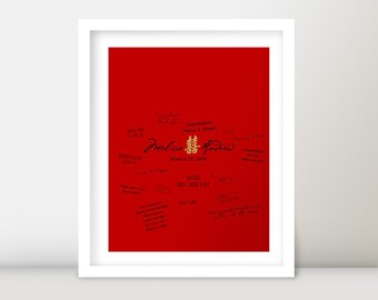 Personalized Chinese Wedding Banquet Reception Red & Gold Double Happiness Guest Book Signature Poster Sign - DIY Digital Printable