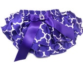 QUARTERFOIL DIAPER COVER, Purple Quarterfoil Print Satin Ruffled Diaper Cover with a Bow and Rhinestone Embellishment, Ruffled Baby Bloomers