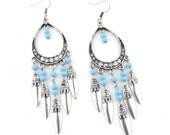 Vintage Feel Bohemia Style Blue Beads Dangle Drop LONG Earrings,B16