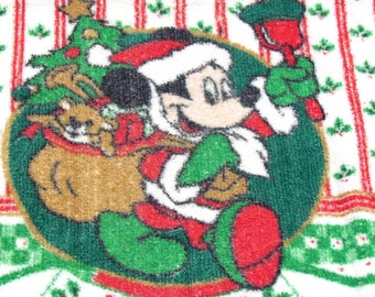 Vintage Santa Mickey Mouse Christmas Tea Towel, Terry Cloth Red Green Brown Black, Ringing Bell, Pack Full of Toys, Kitchen Linens, Cotton