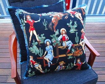 Sweethearts of the rodeo cushion cover