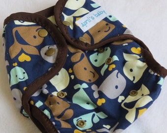 SALE One size cloth diaper cover - Whale Love