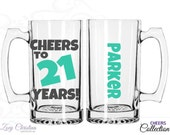 Cheers to 21 years! 21st birthday for him - 21st birthday gift for him - beer mug birthday beer mug 21st birthday