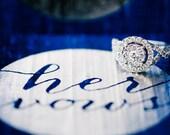 Vows Book - His Vows Her Vows Circle Vow Keepsake Set - Gold Foil Wedding Vow Holder