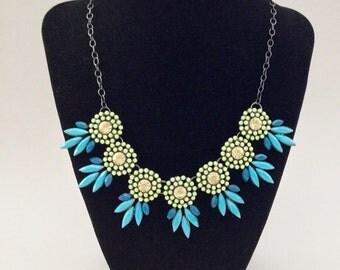 Blue/green statement bib necklace