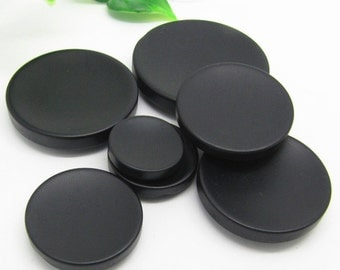 6 pcs 0.71~1.50 inch Matte Black Concave Dark Hole Resin Shank Buttons for Coats