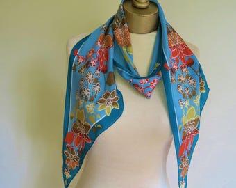Vintage VERA scarf, tie end scarf, long floral scarf, vintage scarves, teal long scarf, asymmetrical scarf, ladies silk tie, Vera Neumann