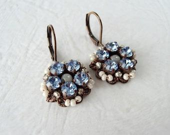 Light Blue Earrings. Pastel Color Jewelry. Blue Rhinestone Earrings. Gift Ideas for Her. Blue Jewelry. Rhinestone Jewelry.