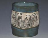 Tourmaline ceramic tumbler cup, with city skyline texture, fun to hold cup, Holidays gift