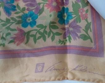 Anne Klein Peach Turquoise Floral Silk Scarf 1980s