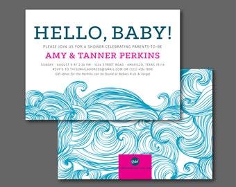 Waves // Baby Shower Invitation - Printable Digital File