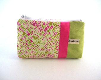 purse green and pink in fabric-women coin case,zippered case