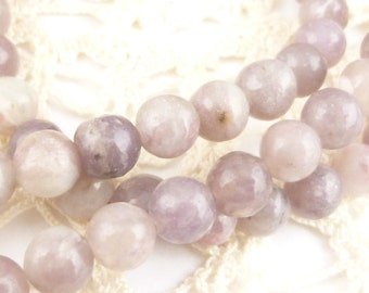 6mm Round  Lilac Stone Beads (1 strand)